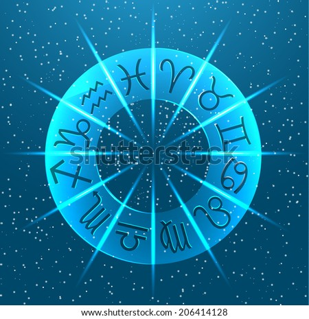 Horoscope circle with Zodiac signs, vector illustration - stock vector