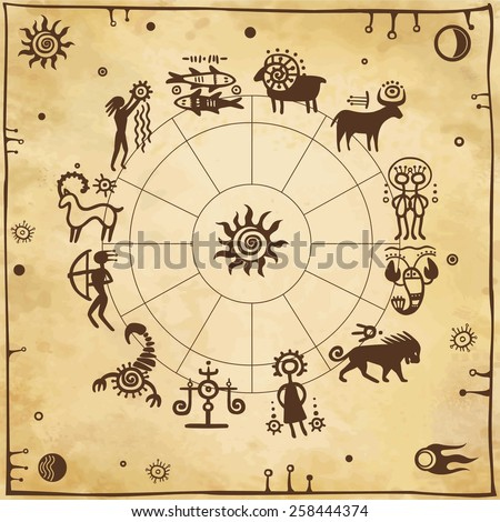 Horoscope circle. Zodiac signs. Simulation of rock paintings. Background old paper. - stock vector