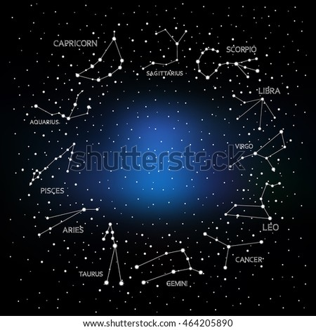 horoscope , constellation , zodiac , space, star, vector illustration