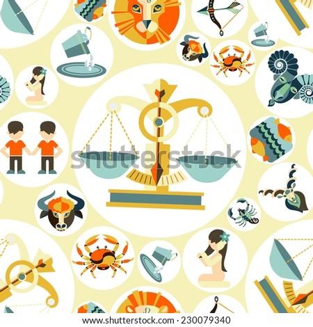 horoscope sign of the zodiac, illustration, vector ,pattern - stock vector