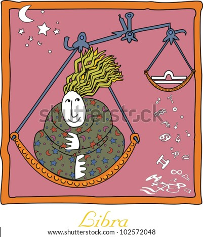 Horoscope signs featuring strong voluptuous women, patterns, stars, and symbols - stock vector