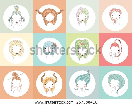 Horoscope signs with girls, vector illustration - stock vector