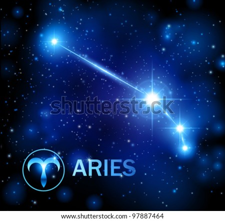 horoscope star sign - aries constellation - stock vector