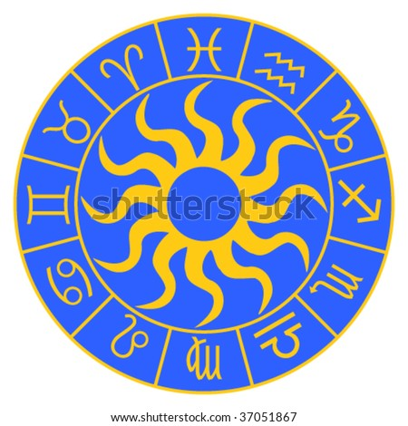 Horoscope symbols on the blue background. Vector file - stock vector