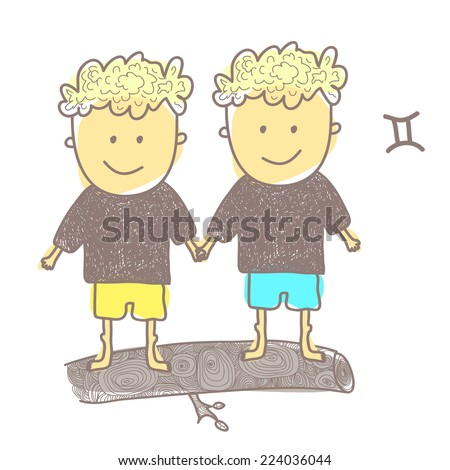 Horoscope twins vector graphic illustration design art