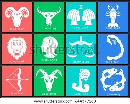 Horoscope All Zodiac Signs Minimalism Vector Stock Vector 644379160