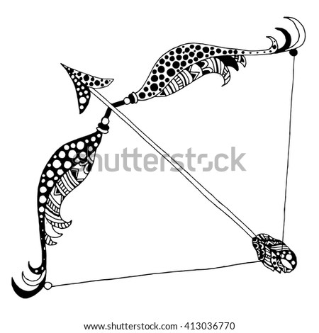 Horoscope/Zodiac - Sagittarius sign vectorized hand draw - stock vector