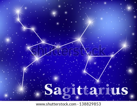 horoscope zodiac sign of the sagittarius on the astrological space background. eps10 vector illustration