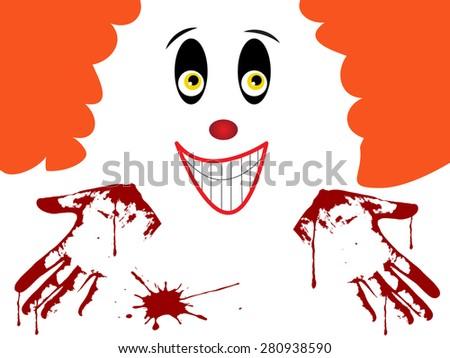 Horror clown face with bleeding hands - stock vector