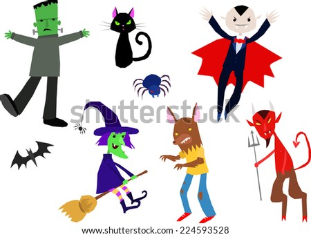 Horror Halloween Characters simple vector set - stock vector
