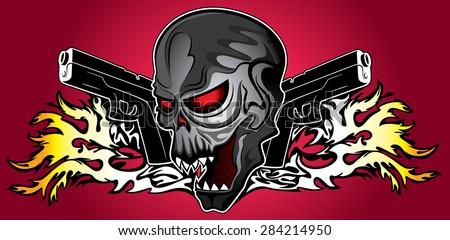 horror zombie halloween skull glock pistols fire flames background - stock vector