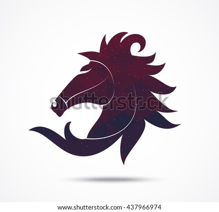 Horse abstract icon isolated on white - stock vector