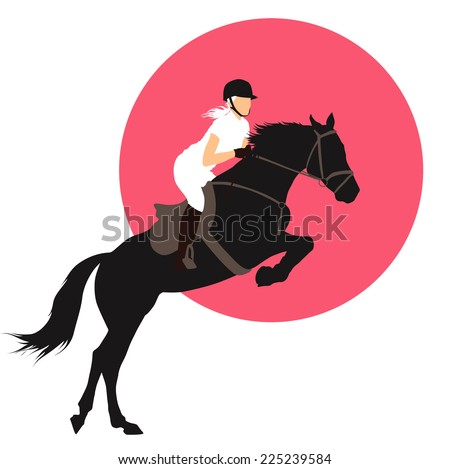 Horse and rider jumping on pink background. vector EPS10 - stock vector