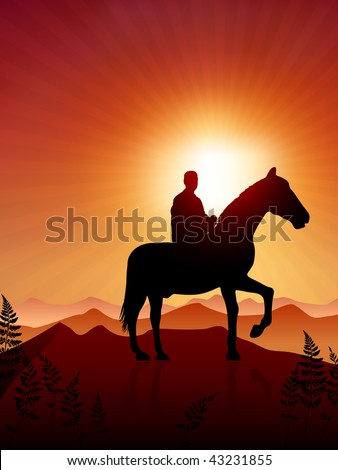 Horse and rider on sunset background Original Vector Illustration Animals on Sunset Ideal for Wildlife Nature Concepts