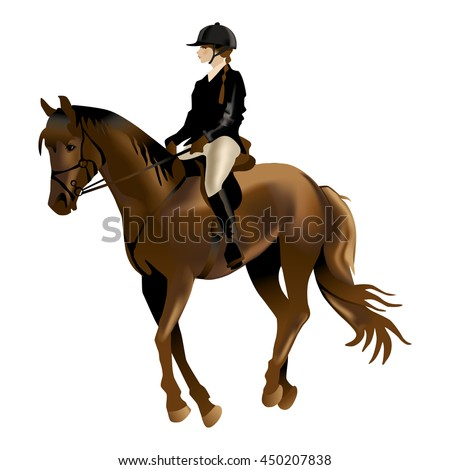 Horse and Rider realistic vector illustration. Isolated on white background. Horse Riding competition.