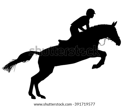 Horse at jumping vector silhouette isolated on white background.