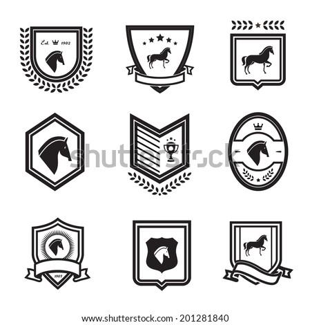 horse badges - stock vector
