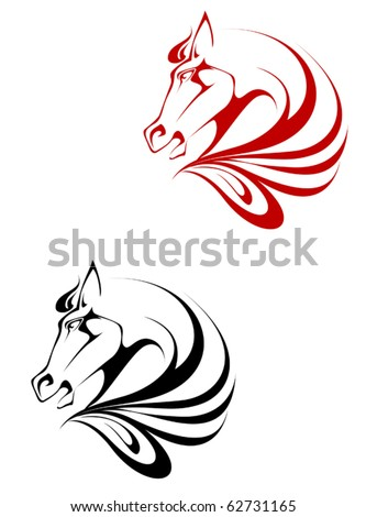 Horse black and red tattoo symbol for design isolated on white - also as emblem or logo template - stock vector