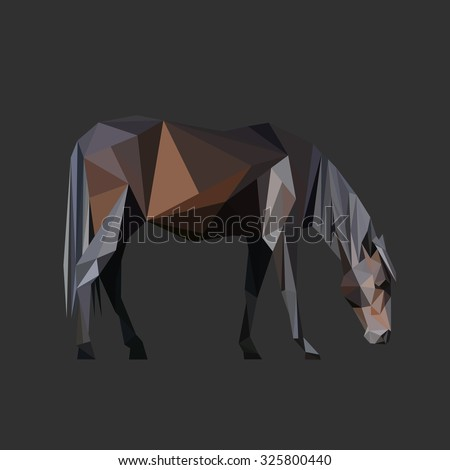 Horse body low poly design. Triangle vector illustration. - stock vector