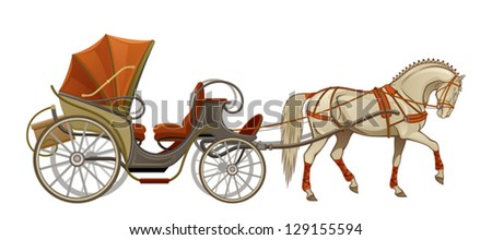 Horse And Carriage Logo Horse Carriage Stock Vector