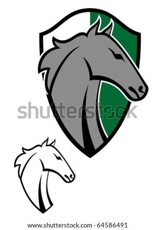 Horse cartoon tattoos symbol for design isolated on white - stock vector