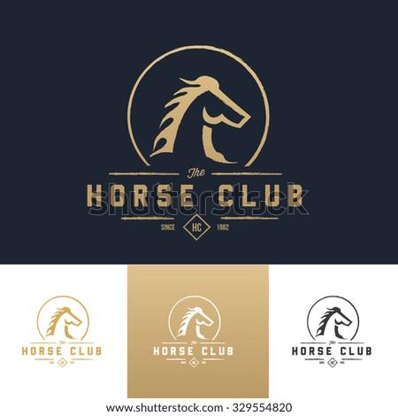 Horse Club Logo,Horse Logo,Boutique brand,real estate,property,royalty,crown logo,crest logo,Vector Logo Template. - stock vector