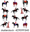 Horse collection - vector illustration isolated on white background. Jockeys and horses. Horse at jumping.  - stock vector