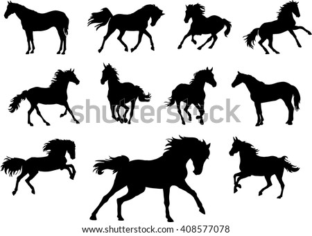 Horse, drawing, black, silhouette, symbol - stock vector