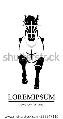 Horse. elegant running horse. Front view of running horse. suitable for team identity, sport club logo or mascot, insignia, embellishment, equestrian club, sign, illustration for apparel, etc. - stock vector