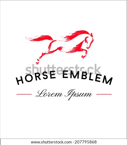 Horse Emblem. Running Horse Icon Isolated On White Background - Vector Illustration, Graphic Design Editable For Your Design - stock vector