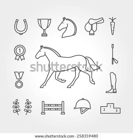 Horse equipment icon set - stock vector