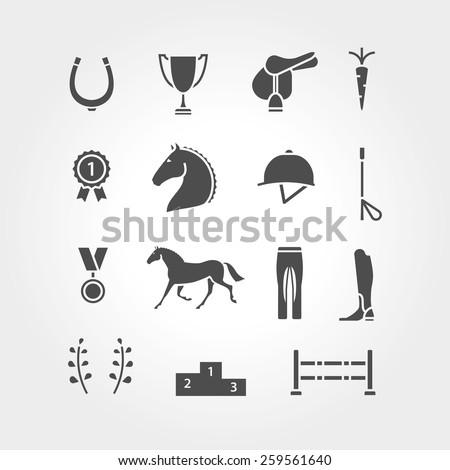 Horse equipment icon set fill - stock vector