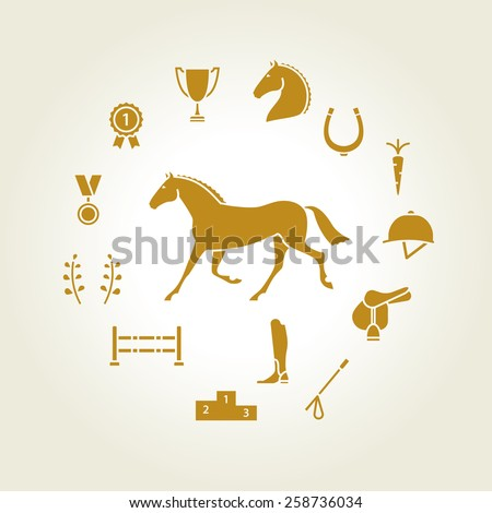 Horse equipment icon set gold - stock vector