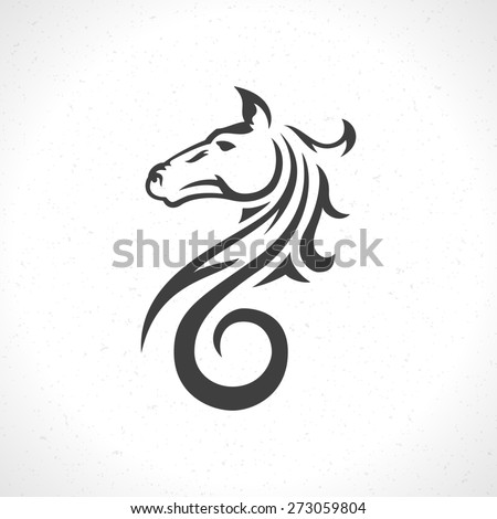 Horse face logo emblem template mascot symbol for business or shirt design. Vector Vintage Design Element. - stock vector