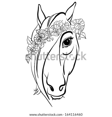 Horse. Freehand drawing - stock vector