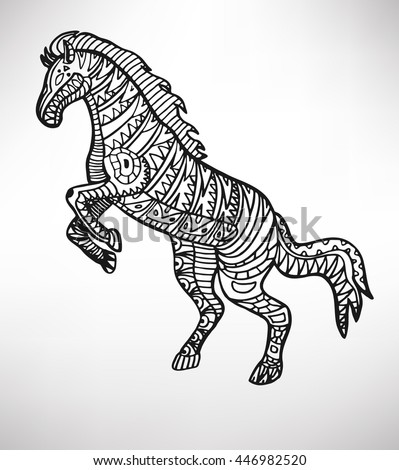 Horse. Hand-drawn with ethnic pattern. Coloring page - isolated on a white background. Zendoodle patterns. Vector illustration.