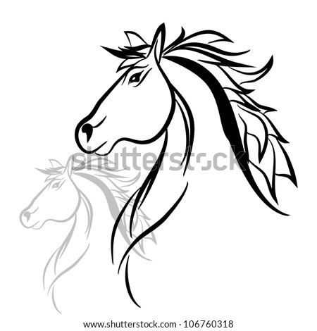 Line Drawings of Horses Heads Horse Head Drawing Vector