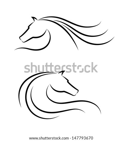 Horse head emblem - stock vector
