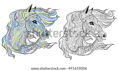 Horse Head Hand Drawn Doodle Animal Stock Vector 491659006