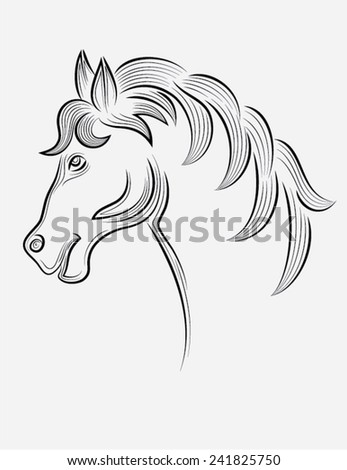 Horse head outline, art vector sketch decoration
