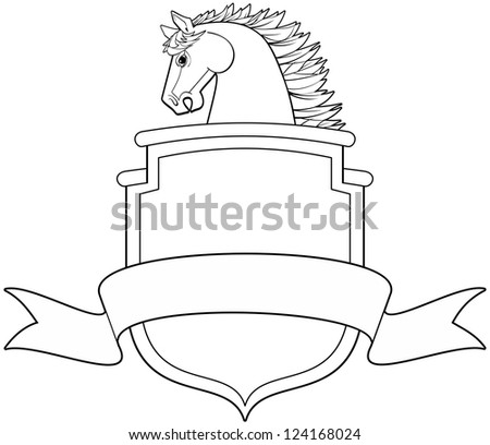 Horse head profile with shield and banner vector illustration - stock vector