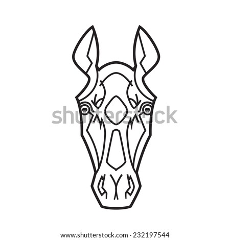 horse head stylization ears raised thoroughbreds - for tattoo or logo vector illustration - stock vector