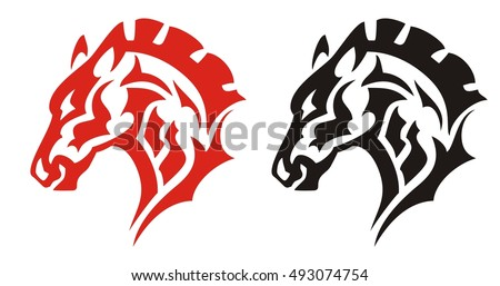 Horse head tattoo. Red and black tribal mustang horse for mascot, tattoos or equestrian sports design