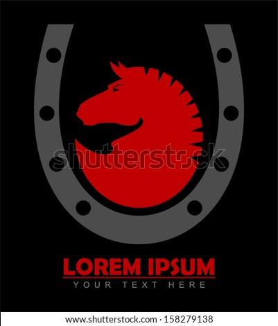 Horse. Horseshoe. Red Horse Head - stock vector