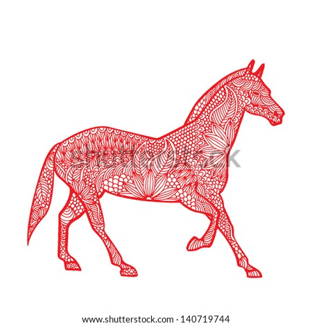 Horse illustration- Chinese zodiac - stock vector