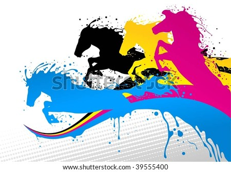 horse line cmyk - stock vector