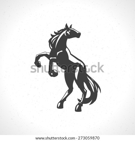 Horse logo emblem template mascot symbol for business or shirt design. Vector Vintage Design Element. - stock vector
