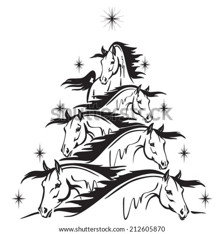Horse Lovers Christmas Tree Christmas Tree Stock Vector 132944900 ...