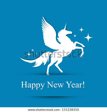 Horse New Year Greeting Card (Used Free Times New Roman Font) - stock vector