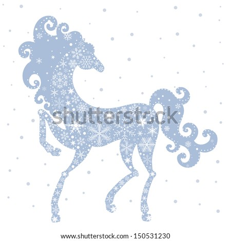 Horse of Snowflakes. Vector background. New Year 2014
